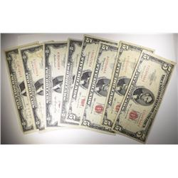 CURRENCY LOT: (4) $5.00 & (4) $2.00 RED SEALS