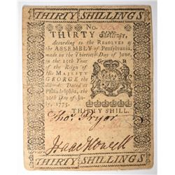 1775 30 SHILLINGS COLONIAL NOTE
