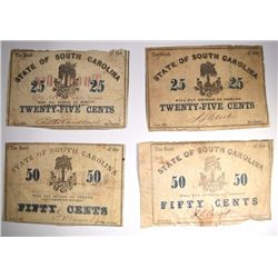 (2) 25¢ & (2) 50¢ 1863 &1862 SC CIVIL WAR NOTES