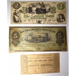 NOTE LOT: 1862 50¢, 1873 $5.00, & 1861 $2.00