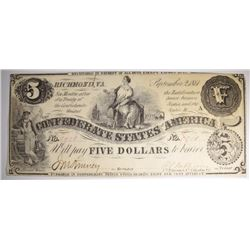 SCARCE 1861 $5.00 CONFEDERATE NOTE
