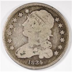 1834 CAPPED BUST QUARTER, VG