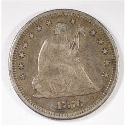 1876-S SEATED QUARTER, XF -100% ORIGINAL