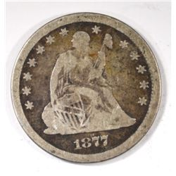 1877-CC SEATED QUARTER, VG -SCARCE!