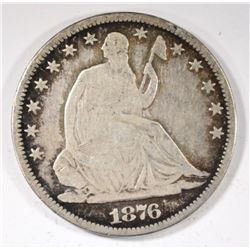 1876-CC SEATED HALF DOLLAR, VG -SCARCE!