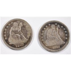 1858 & 1877 SEATED QUARTERS -BOTH VF