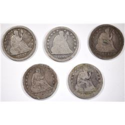 (2)1853 A&R, 1888-S, 1857, & 1853-O A&R SEATED 25¢