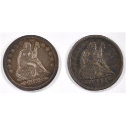 (2) 1853 ARROWS & RAYS SEATED QUARTERS -AU