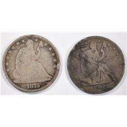 1860-O & 1875 SEATED HALF DOLLARS -BOTH VG
