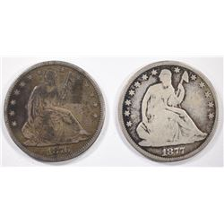 1876 & 1877 SEATED HALF DOLLARS, G/VG
