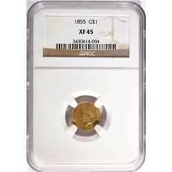 1855 T-2 $1.00 GOLD INDIAN NGC XF-45