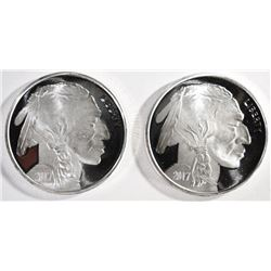 2-ONE OUNCE .999 SILVER ROUNDS INDIAN/BUFFALO