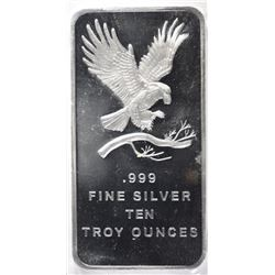 TEN OUNCE .999 SILVER BAR EAGLE DESIGN