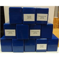 12 USED BLUE PCGS BOXES EACH HOLDS 20 SLABS