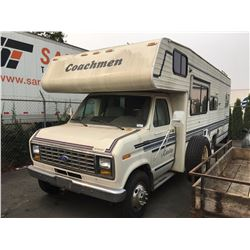 1991 FORD MOTORHOME, WHITE, GAS, AUTOMATIC, VIN #1FDKE30G2MHA81806, 82,672 MILES, RD,CC,TH,4W,CR,