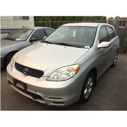 2003 TOYOTA MATRIX XR, GREY, HATCHBACK, VIN # 2T1LR32E93C743389,TMU KMS, AUTOMATIC, GAS,