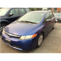 2007 HONDA CIVIC, BLUE, 4 DOOR SEDAN, GAS, AUTOMATIC, VIN#2HGFA16387H014878, 232,795KMS,
