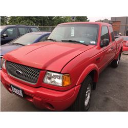 2003 FORD RANGER, PICKUP, RED, VIN#1FTYR44U53PA28675, 169,861KMS, MANUAL, GAS, RD,CD,TH, WONT