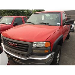 2003 GMC SIERRA 2500 HD, 6.0L, RED, 2 DOOR PICK UP, VIN #1GHTC24U93Z231966, 282,504KMS, AUTOMATIC,