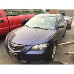 2004 MAZDA 3, BLUE, 4 DOOR SEDAN, GAS, MANUAL, VIN #JM1BK12F841124379, 350,925KMS, RD,CD,PL,TW,AC,