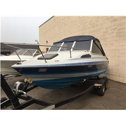 1989 20' BAYLINER INBOARD CUDDY, 124 HP, HULL #BL3C500KK889, WITH 1996 ESCO BOAT TRAILER, GREY, VIN