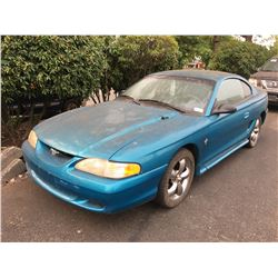 1995 FORD MUSTANG SRS, BLUE, 2 DOOR COUPE, VIN #1FALP4044SF246316, 209,744KMS, GAS, MANUAL,  3.8L