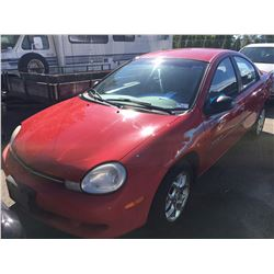 2000 CHRYSLER NEON LE, 4DR SEDAN, RED, VIN # 1C3ES46C5YD826666