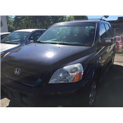 2004 HONDA PILOT, GRANITE EDITION, BLUE, 3.5L, 4 DOOR SUV, VIN# 2HKYF18154H002632, 303,744KMS,