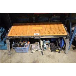 VIKA POWERED WORKBENCH WITH ASSORTED PARTS/TOOLS/SAWHORSES