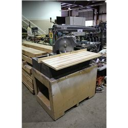 "DEWALT GA 510 14"" RADIAL ARM SAW ON MOBILE WOODEN TABLE"
