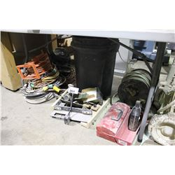 ASSORTED JIGS, AIR HOSE, ELECTRICAL CABLE & TOOLS