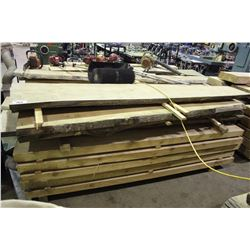 LOT OF ASSORTED ROUGH CUT SOLID CHESTNUT WOODEN PLANKS
