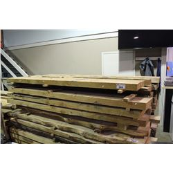 LOT OF ASSORTED ROUGH CUT SOLID FIR WOODEN PLANKS