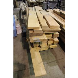 LARGE LOT OF ASSORTED ROUGH CUT WOOD ( CART NOT INCLUDED )