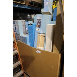 BIN OF ASSORTED WOOD FIRE PLACE MANTELS & PARTS