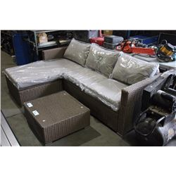 PATIO FLARE EMMETT 3 PIECE BROWN OUTDOOR PATIO SOFA SET