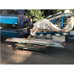 LOT OF ASSORTED SCAFFOLDING INCLUDING: 8 UPRIGHTS, CROSSBARS & WALKBOARDS (CART NOT INCLUDED)