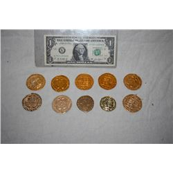 PIRATES OF THE CARIBBEAN LOT OF 10 SCREEN USED TREASURE COINS 05 C-GRADE