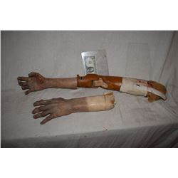 DEAD BODY OR ZOMBIE MATCHED PAIR OF SILICONE ARMS ONE A PROSTHETIC