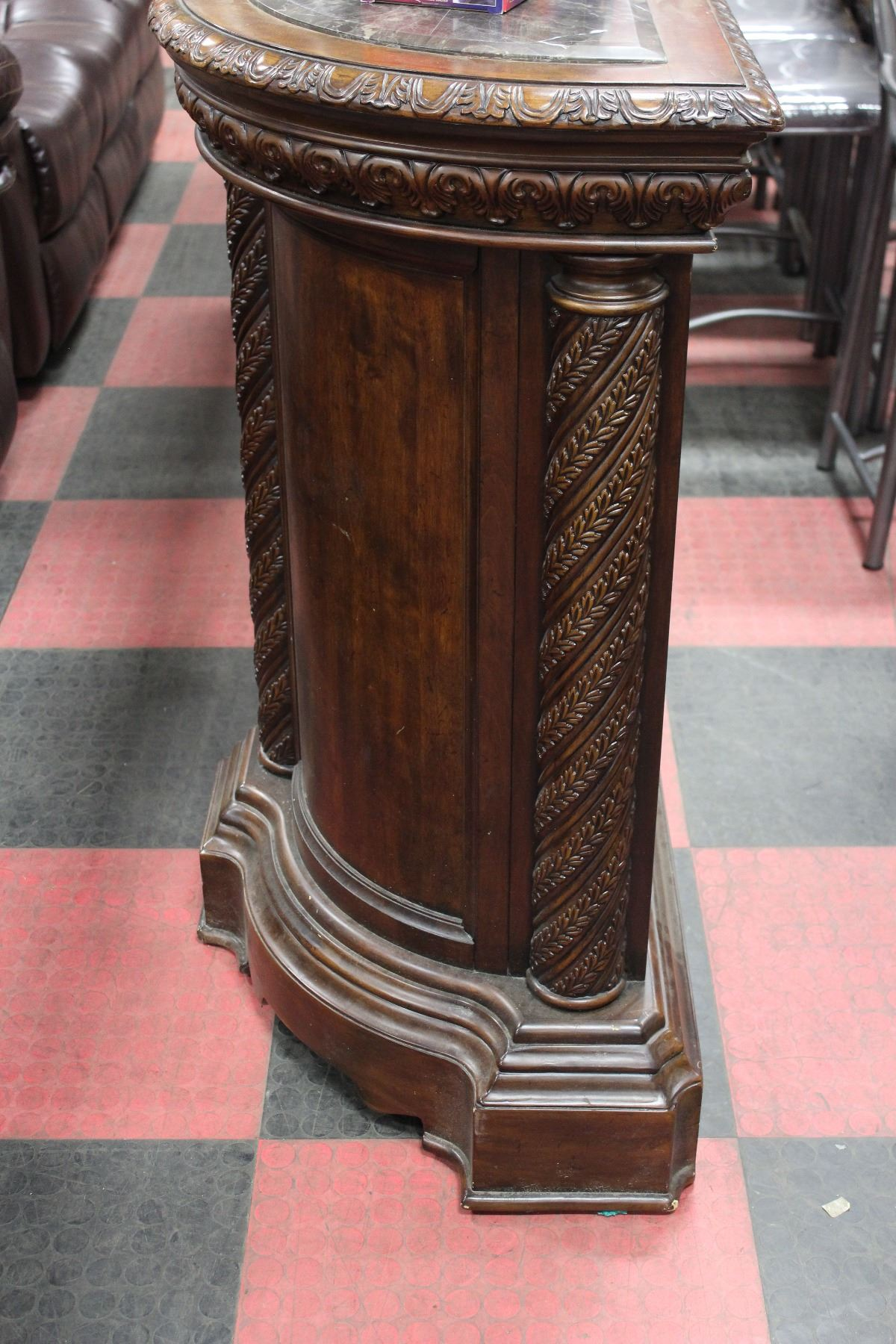 Engraved Limestone Inlay : Carved wood bar with marble like top