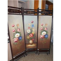 WOOD DBL SIDED HAND PAINTED 3 SECTIONAL ROOM DIVIDER