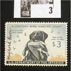 1959 U.S. Department of the Interior Migratory Bird Hunting Stamp, RW#26, light hinge, VF, Signed by