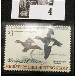 1969 U.S. Department of the Interior Migratory Bird Hunting Stamp, RW#36, light hinge, VF, Signed by