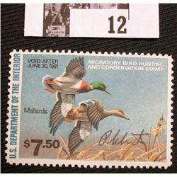 1980 U.S. Department of the Interior Migratory Bird Hunting Stamp, RW#47, OG, not hinged, VF, Signed