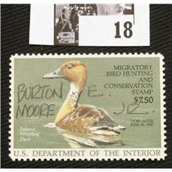 1986 U.S. Department of the Interior Migratory Bird Hunting Stamp, RW#53, OG, not hinged, VF, Signed