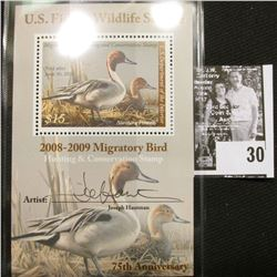 2008 U.S. Department of the Interior Migratory Bird Hunting Stamp, RW#75B, Pane, not hinged, EF, Sig