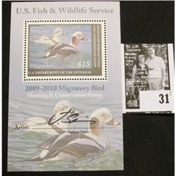 2009 U.S. Department of the Interior Migratory Bird Hunting Stamp, RW#76B, Pane, not hinged, EF, Sig