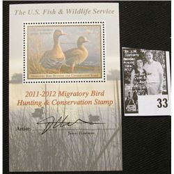 2011 U.S. Department of the Interior Migratory Bird Hunting Stamp, RW#78B, Pane, not hinged, EF, Sig