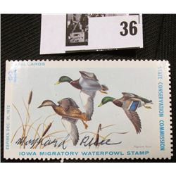 "1972 Iowa State Conservation Commission Migratory Waterfowl Stamp, NH, VF, Signed by the Artist ""May"