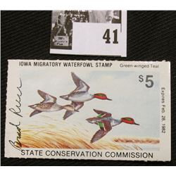 "1981 Iowa State Conservation Commission Migratory Waterfowl Stamp, VF, NH, Signed by the Artist ""Bra"